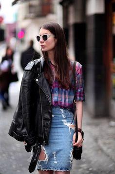 Pencil skirt, plaid, leather jacket.