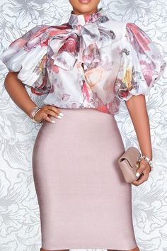 Classy Work Outfits, Classy Dress, Chic Outfits, Fashion Outfits, Latest African Fashion Dresses, African Dresses For Women, African Print Fashion, Skirt Fashion, Chiffon Tops