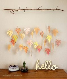 Thanksgiving Watercolor Paper Leaf Branch Crafts - 2014 Homemade Wall Decor  #2014 #Thanksgiving
