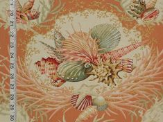 Orange seashell fabric coral seahorse still life from Brick House Fabric: Novelty Fabric - dining chair fabric?