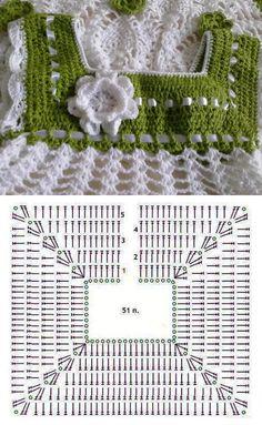 Pattern graph of basic crochet yoke for dress.