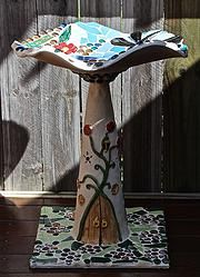 MY LATEST PIECE: MUSHROOM BIRDBATH 2 - for the wrens, wagtails and other small birds that visit my gallery Mosaic Pots, Small Birds, Wall Plaques, Faeries, Kara, Mushroom, Original Art, Wrens, Display