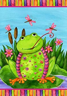 Place this funky, fun frog flag in the garden or flowerbed for some fanciful flair. As the flag's cheeky croaker picture sways in the wind, it lends a sense of whimsical wonder to any yard. Funny Frogs, Cute Frogs, Garden Flag Holder, Black Frog, Frog Pictures, Frog Pics, Frog Illustration, Frog Statues, Garden Frogs