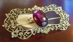 Victorian Amethyst Brooch / / Mid-Century Costume Jewelry / / Brass Filigree Lapel Pin with Swarovski  Cabochon