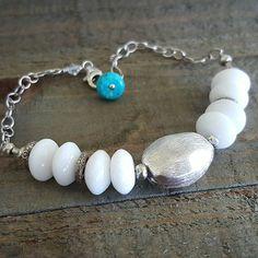 Howlite Thai Silver Spacers Thai Silver Bead Turquoise Bracelet. #sterlingsilverjewelry #thaisilver #beads #turquoise #white #etsy #shopetsy #etsyseller #etsyshop #lovehandmade #handmade #handcrafted #madeinhawaii #seventythreedesigns by seventythreedesigns