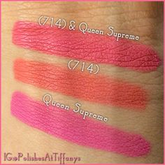 Swatches of Jeffree Star Cosmetics (714) and Queen Supreme