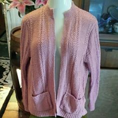 Lovely XL rose colored knit sweater, open front Long sleeved sweater with front pockets, stand up collar. Open front style, no buttons or zipper. Casual but elegant, with classic lines. Gently loved as shown in pics, lots of life left. No tags but feels like an acrylic blend. Very good used condition. Sweaters Cardigans