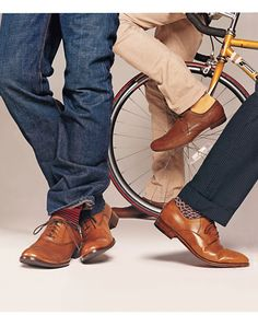 From left:  Shoes, $225, by Banana Republic. Jeans by Habitual. Socks by Richard James.  Shoes, $540, by Bottega Veneta. Pants by Wrangler47...