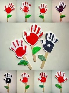 Flores com carimbo e molde das mãos | Pra Gente Miúda