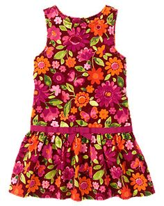 5-Floral Butterfly Corduroy Dress + pomegranate red leggings and l/s tee shirt