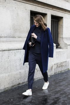 3f0326e57d02 it looks like a classic navy coat was the street trend of the season-  hallelujah! i especially like seeing a navy coat worn with white leather  sneakers- ...