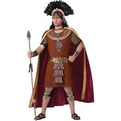 This Mayan King holds the secrets of the Mayan Calendar! Mayan King Adult Halloween Costume for Men includes a brown tunic, cape with gold trim, vinyl and feather headpiece, vinyl chest . Clever Halloween Costumes, Cool Costumes, Adult Costumes, Costumes For Women, Adult Halloween, Halloween Ideas, Costume Ideas, Happy Halloween, Halloween Customs