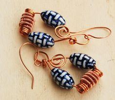 Blue Ceramic Copper Bead Wire Wrap Unique OOAK Spiral Earrings Jeanninehandmade #Jeanninehandmade #Wrap