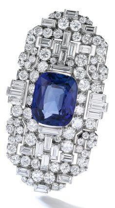 Bulgari - An Art Deco sapphire and diamond brooch/pendant combination, millegrain-set with circular-, single-cut and baguette diamonds, signed Bulgari, collapsible pendant hook. Bijoux Art Deco, Art Deco Jewelry, Modern Jewelry, Vintage Jewelry, Fine Jewelry, Jewelry Design, Jewellery, Diamond Brooch, Art Deco Diamond