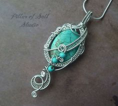 Wire wrapped jewelry handmade necklace / Wire Wrapped Pendant / wire jewelry / Turquoise magnesite / silver wire jewelry/ pendant necklace