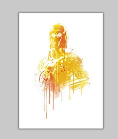 Watercolor C3PO Alternative poster Print   All prints are ready to be framed with a white border around the image (0,5 inch. aprox.)  - Frame
