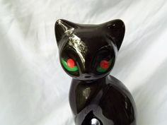 Lucky Black Cat 1960's Ceramic with Red Eyes by TheRiCharmedLife