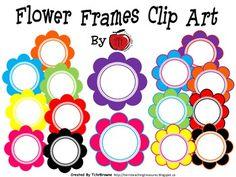 Colorful Flowers Frames Clip Art ($)