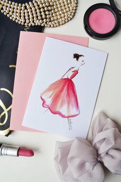 Fashion Card Fashion Illustration Fashion by DorinusIllustrations  #ballerina #stationery