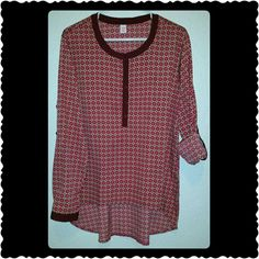 *TODAY ONLY SALE*High to Low Shirt Maroon with pink high to low tunic. JW Styles Tops