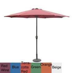 @Overstock - The canopy is made of 100-percent all-weather fabric on this lovely patio umbrella. This umbrella is available with several shade color and pole color options.http://www.overstock.com/Home-Garden/Aluminum-10-foot-Patio-Umbrella-with-Crank/6450749/product.html?CID=214117 $104.99