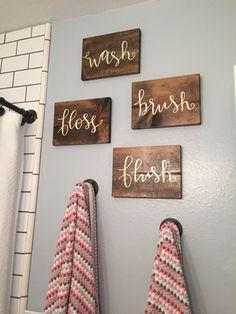 Wash Brush Floss Flush Wood Signs Children's by CharleeInTheRhy