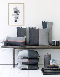 throw pillows in shades of gray with small bright color-pop stripe Bedroom Cushions, Diy Pillows, Decorative Pillows, Handmade Cushions, Plain Cushions, Scatter Cushions, Baby Room Design, Crochet Cushions, Designer Throw Pillows