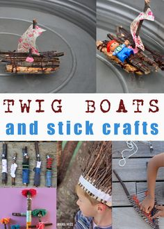 Twig boats and other stick crafts #stickboats #stickcrafts Fun Outdoor Activities, Science Activities, Activities For Kids, Autumn Crafts, Nature Crafts, Craft Stick Crafts, Crafts For Kids, Make A Boat, Family Fun Night