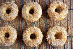 Peach Doughnuts with White Chocolate-Coconut Glaze @ Girl Versus Dough Chocolate Glaze, White Chocolate Chips, Baked Peach, Peach Syrup, Doughnut Cake, Donut Muffins, Peach Cake, Tasty Kitchen, Toasted Coconut