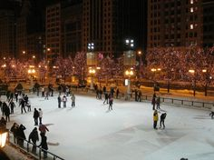 Ice Skating in Millenium Park, during christmas time at night!