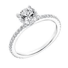 31-11019-E Diamond Prong Set Engagement Ring with Diamond Shank. Traditional style with thin band, solitaire look. Matching band available at CMI Jewelry Showroom in Raleigh NC www.cmijewelry.com