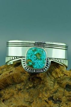 Navajo – Exquisite Heavy Weight Sterling Silver Royston Turquoise Bracelet by Kee Joe Benally by kaye