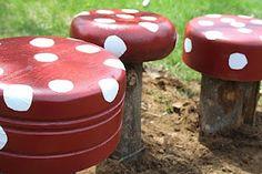 DIY Garden Toadstools, DIY Backyard projects and Garden Ideas