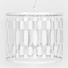 White iron drum pendant with 3-light 40w candle cluster. Comes with 3' white chain and canopy.