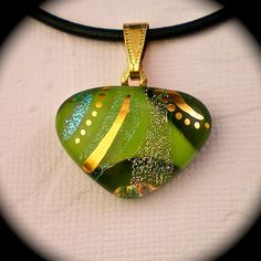 Key Lime - Green dichroic fused glass pendant hand painted in 22k gold
