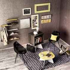 Um belo espaço cheio de produtos da Falkk. O amarelo deu um charme especial ao ambiente!