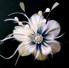 Something Blue Bridal Peacock Feather Fascinator - ART NOUVEAU NIRVANI | yjdesign - Wedding on ArtFire $89.00