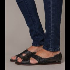 Jacey Huraches NWOT, FRYE cognac all leather sandals.  Never worn.  Misplaced box but can put in another Frye box.  Last photo is stock photo in a different color. Frye Shoes Sandals
