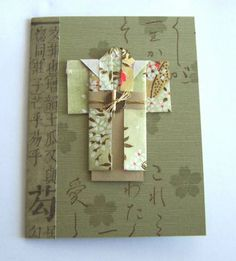 handade card ... origami kimono on kraft background stamped tone on tone with characters and sakura ... luv it!