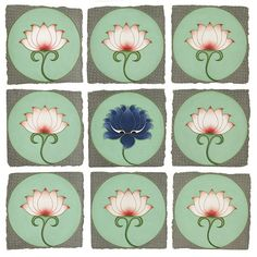 The Blue Lotus by Olivia Fraser - Pigment, Arabic gum on handmade Sanganer paper x Lotus Artwork, Lotus Painting, Mural Painting, Fabric Painting, Dress Painting, Pichwai Paintings, Indian Paintings, Floral Paintings, Indian Folk Art
