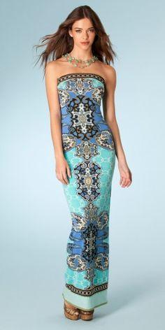 "Hale Bob ""Cabana"" Blue Crusin, Jersey Strapless Maxi Dress"
