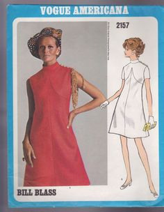 Vogue Americana Sewing Pattern Bill Blass Vtg 2157 A Line Dress Sheath Sz 10
