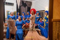 Bride's Friends in Royal Blue Lace | Muneerah & Umar's Wedding | Hausa Wedding Aso-Ebi | George Okoro Photography