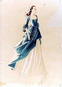 Walter Plunkett costume sketch for Scarlett O'Hara (costume does not appear in film).