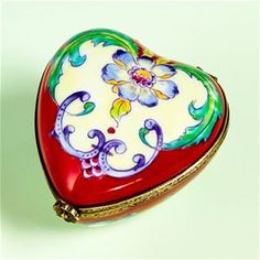 Limoges Museum Red Heart with Purple Flower Box | The Cottage Shop