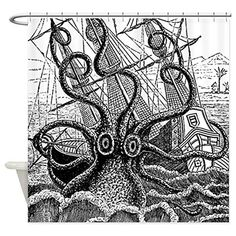 Bathroom Rugs Ideas | CafePress  Kraken Attack Shower Curtain  Decorative Fabric Shower Curtain ** Check out the image by visiting the link.(It is Amazon affiliate link) #love