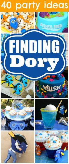 40 Finding Dory Birthday Party Ideas from Pretty My Party - Lots of cute blue cakes, drinks, games, etc. Finding Dory Birthday Cake, 4th Birthday Parties, 3rd Birthday, Birthday Ideas, Themed Parties, Birthday Cakes, 40th Party Ideas, Snacks Für Party, Party Party
