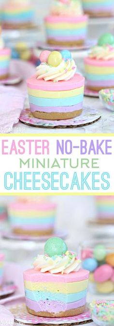 Easter No-Bake Mini Cheesecakes - pastel striped cheesecakes that are super easy, no baking required! | From SugarHero.com | In partnership with @InDelight   #ad