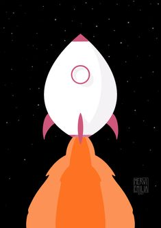 An illustration of a childish rocket launching to space.