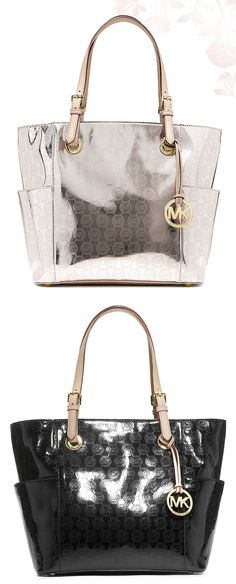 MICHAEL MICHAEL KORS Jet Set Mirror Metallic East/West Signature Tote